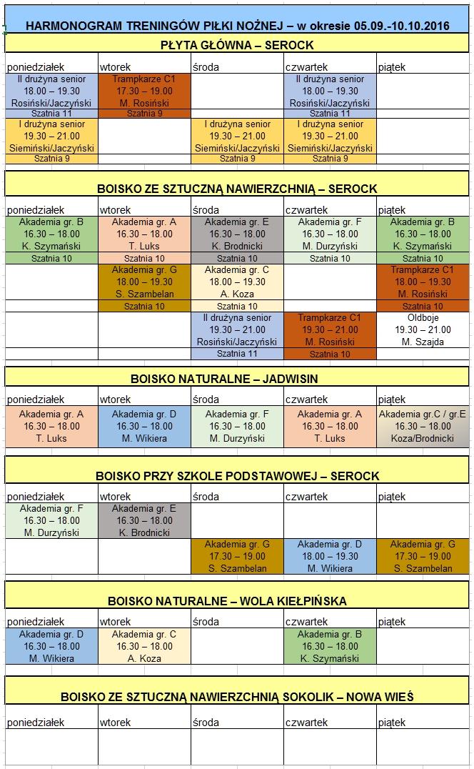 harmonogram treningów 05.09 - 10.10